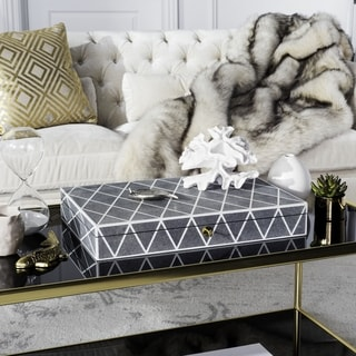 Safavieh Couture High Line Collection Alaina Black Faux Stingray Box with Key Hole