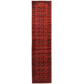 Herat Oriental Afghan Hand-knotted Tribal Balouchi Wool Runner (2'6 x 11'2)