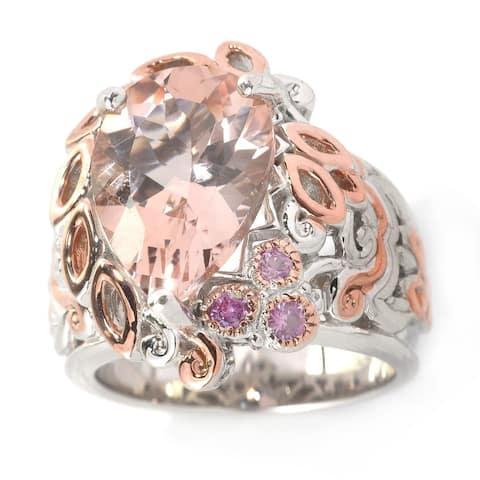 Michael Valitutti Palladium Silver Pear Shaped Morganite & Pink Sapphire Ring
