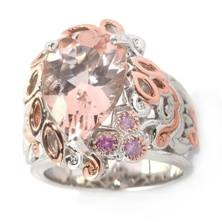 Michael Valitutti Palladium Silver Pear Shaped Morganite & Pink Sapphire Ring