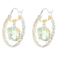 Michael Valitutti Palladium Silver Oval Brazilian Green Amethyst Hoop Earrings