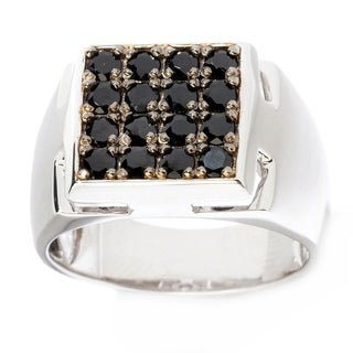 Michael Valitutti Palladium Silver Exotic Black Spinel Square Top Men's Ring
