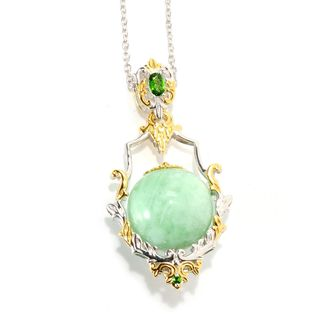 Michael Valitutti Palladium Silver Green Amazonite Bead & Chrome Diopside Pendant