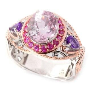 Michael Valitutti Palladium Silver Oval Kunzite, Pink Sapphire & Amethyst Ring