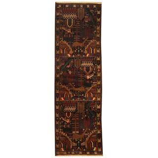 Herat Oriental Afghan Hand-knotted Tribal Balouchi Wool Runner (2'10 x 9'3)