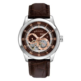 Bulova Men's 96A120 Brown Leather and Stainless Steel Water-resistant Watch|https://ak1.ostkcdn.com/images/products/13847228/P20489825.jpg?impolicy=medium