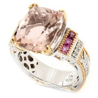 Michael Valitutti Palladium Silver Morganite, Rhodolite & Diamond Euro Shank Ring