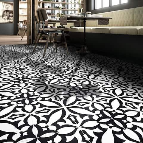 Handmade Meknes Black/White Tile, Pack of 12 (Morocco)