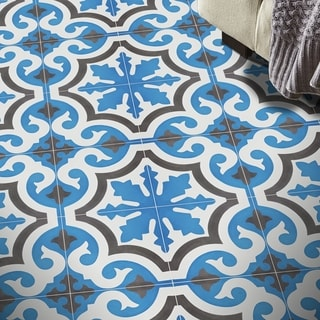 Set of 12 Tange Blue and Brown Handmade Moroccan Floor/ Wall Tiles (Morocco)