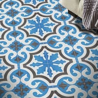 Tanger in Blue and Brown Handmade 8x8-in Moroccan Tiles (Pack 12)