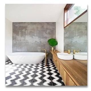 Set of 12 Bettana Black and White Handmade Moroccan Floor/ Wall Tile (Morocco)
