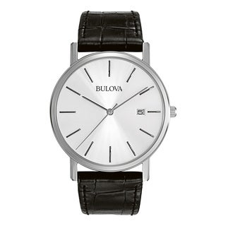Bulova Men's Black Leather and Stainless Steel Water-Resistant Calendar Date Watch