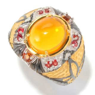 Michael Valitutti Palladium Silver Oval Fire Opal, Sapphire & Madeira Citrine Men's Ring