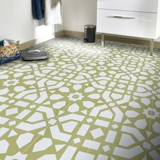 Set of 12 Azilal White and Yellow Handmade Moroccan Floor/ Wall Tiles (Morocco)