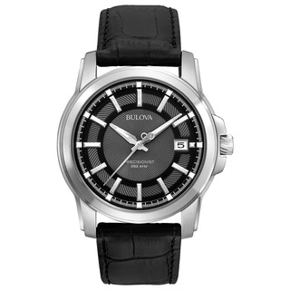 Bulova Men's Black Leather/Stainless Steel Calendar Date Watch