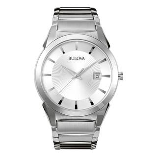 Bulova Men's Silver Stainless Steel Water-resistant Calendar Date Watch