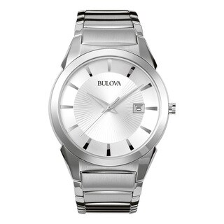 Bulova Men's Silver Stainless Steel Water-resistant Calendar Date Watch