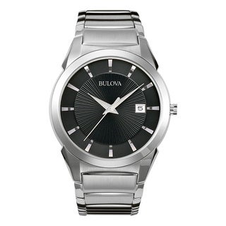 Bulova Men's 96B149 Silver Stainless Steel Water-resistant Calendar Date Watch