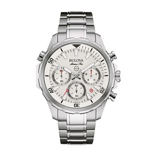Bulova Men's Silvertone Stainless Steel White Dial Quartz Movement Watch