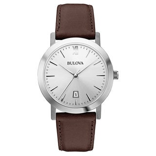 Bulova Men's 96B217 Leather and Stainless Steel Brown Water Resistant Calendar Date Watch