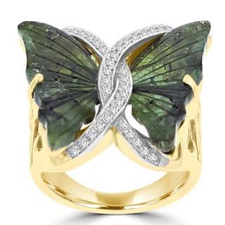 La Vita Vital 14k Yellow Gold 8 1/2ct Natural Tourmaline and 1/5ct TDW Diamond Butterfly Ring - Green