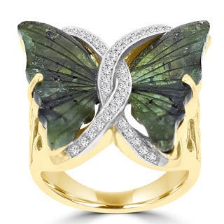La Vita Vital 14k Yellow Gold 8 1/2ct Natural Tourmaline and 1/5ct TDW Diamond Butterfly Ring (G-H, SI1-SI2)