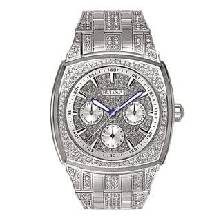 Bulova Men's Silvertone Stainless Steel Swarovski Crystal Accent Quartz Movement Watch