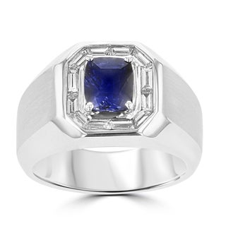 La Vita Vital 18k White Gold 1 3/4ct Blue Sapphire and 1/2ct TDW Diamond Men's Ring