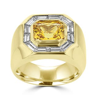 18k Yellow Gold Men's Natural Yellow Sapphire and 2ct TDW Baguette Diamond Ring (G-H, SI1-SI2) (Option: 8.5)|https://ak1.ostkcdn.com/images/products/13847269/P20489853.jpg?impolicy=medium