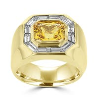 18k Yellow Gold Men's Natural Yellow Sapphire and 2ct TDW Baguette Diamond Ring (G-H, SI1-SI2)