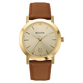 Bulova Men's Goldtone Stainless Steel Brown Leather Band Champagne Dial Quartz Movement Watch