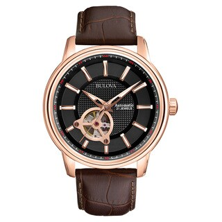 Bulova Men's 97A109 Brown Leather and Stainless Steel Water-resistant Watch