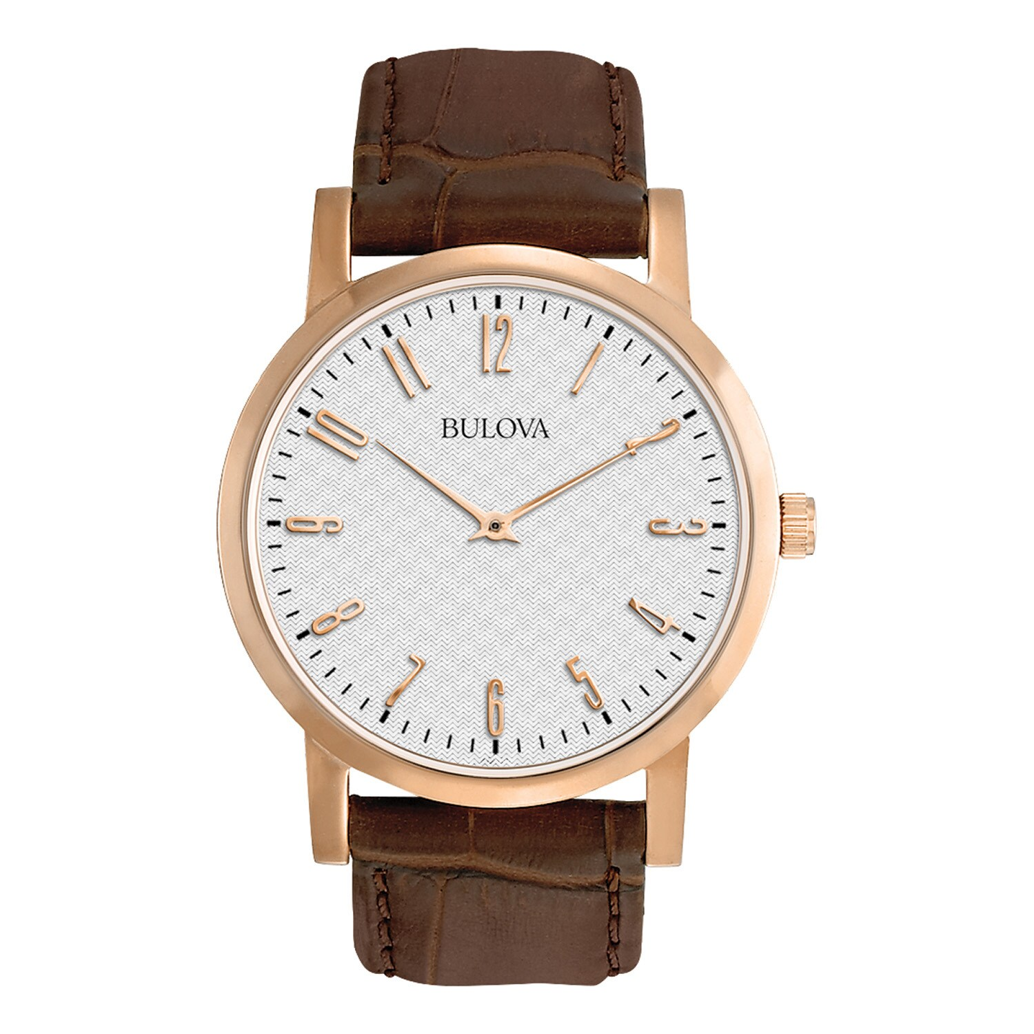BULOVA Men's 97A106 Brown Leather and Stainless Steel Wat...