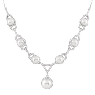 White Sterling Silver CZ Pearl Masterpiece Necklace
