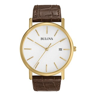 Bulova Brown Leather and Stainless Steel Men's Water-resistant Watch