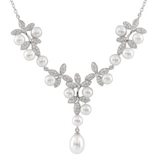 Sterling Silver Cubic Zirconia Pearl Micropave Centerpiece Necklace