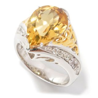 Michael Valitutti Palladium Silver Pear Shaped Yellow Beryl & White Sapphire Ring