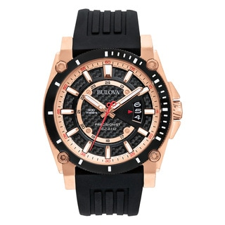 Bulova 98B152 Men's Black Silicone and Stainless-steel Water-resistant Calendar Date Watch