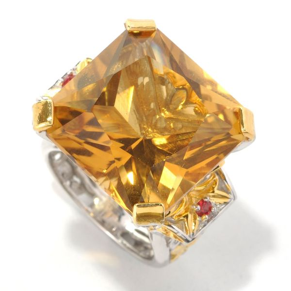 Michael Valitutti Palladium Silver Princess Zambian Citrine & Orange Sapphire Ring