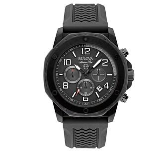 Bulova Men's Black Silicone/ Stainless Steel Water-resistant Calendar Date Watch
