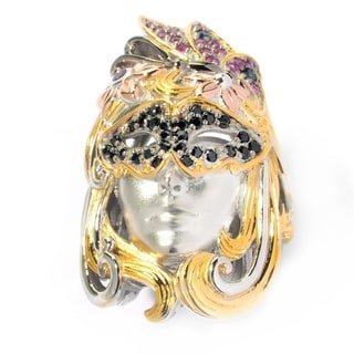Michael Valitutti Palladium Silver Black Spinel, Pink and Blue Sapphire & Amethyst Mardi Gras Portrait Ring