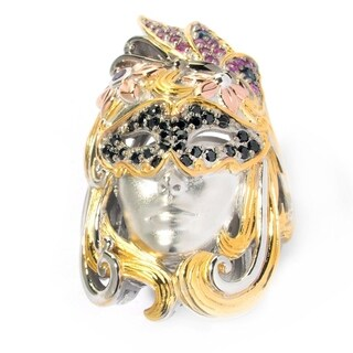 Michael Valitutti Palladium Silver Black Spinel, Pink and Blue Sapphire & Amethyst Mardi Gras Portrait Ring