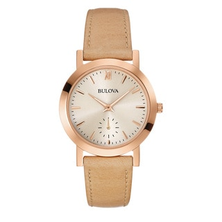 Bulova Women's 97L146 Beige Leather Water-resistant Watch