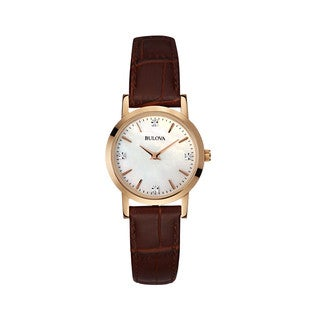 Bulova Women's 97P105 Brown Leather and Stainless Steel Water-resistant Watch