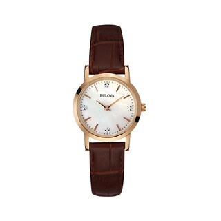 Bulova Women's Brown Leather and Stainless Steel Water-resistant Watch