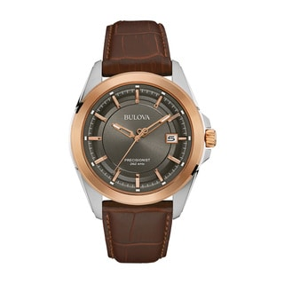 Bulova Brown Leather and Stainless Steel Men's Water-resistant Calendar Date Watch