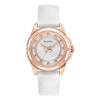 Bulova Women's 98P119 White Leather and Stainless Steel Water-resistant Watch
