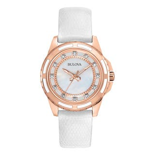 Bulova Women's 98P119 White Leather and Stainless Steel Water-resistant Watch|https://ak1.ostkcdn.com/images/products/13847353/P20489959.jpg?impolicy=medium