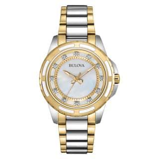 Bulova Women's Two-tone Stainless Steel Diamond Watch|https://ak1.ostkcdn.com/images/products/13847364/P20489960.jpg?impolicy=medium
