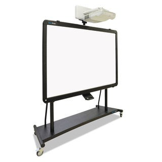 MasterVision Interactive Board Mobile Stand With Projector Arm 76-inch wide x 26-inch deep x 86-inch high Black